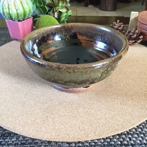 Vintage Pottery Brown Glazed Bowl